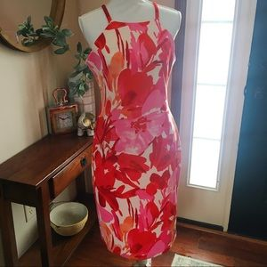 Vince Camino Red Pink Floral summer sheath dress